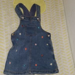 H&M jean skirt overalls with embroidery